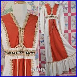 Vintage 70s Gunne Style Corset Lace Up Maxi Dress, Cottagecore JC Penny M