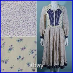 Vintage 70s Prairie Dress, Gunne Sax Style Corset Lace Up, Cottagecore Calico