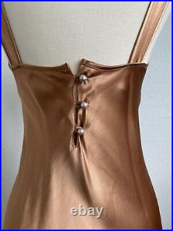 Vintage 90s 2000s Betsey Johnson Copper Gown 30s Style S
