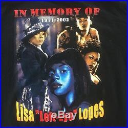 Vintage 90s Style Lisa Left-Eye Lopes Memorial R. I. P Shirt 2002 TLC Rap Tee