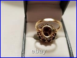 Vintage Antique Garnet 14K Gold Cocktail Ring Dome Style Size 8