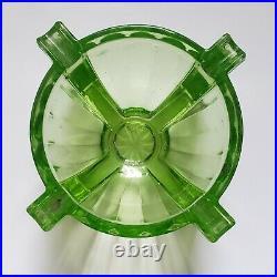 Vintage Antique Green Vaseline Uranium Glass Art Deco Block Style Ashtray 4x2