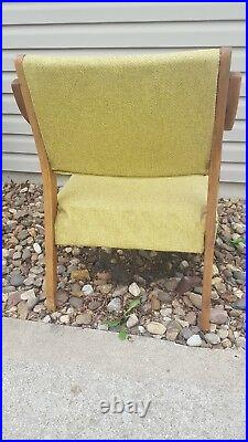 Vintage Antique Mid-Century Danish Style Walnut Wood Lounge Patio Arm Chair
