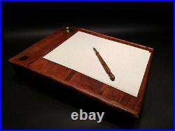 Vintage Antique Style Wood Colonial Folding Lap Writing Slope Desk Inkwell set