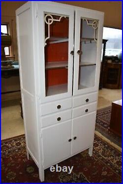 Vintage Art Deco White Kitchen Cabinet, Hoosier style