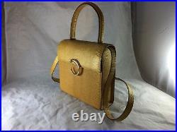 Vintage Cartier Yellow Lizard Skin Box Style Bag Vintage