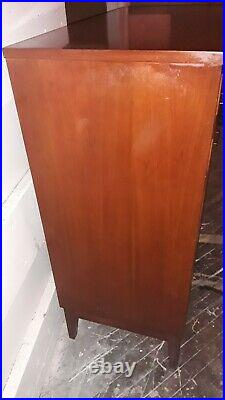 Vintage Danish Style Mid Century Modern Teak Chest of Drawers with Glass Top