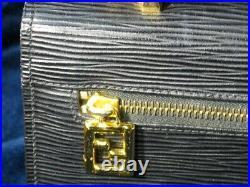 Vintage Fendi Black Epi Leather Handbag, Rare Style