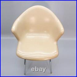 Vintage Fiberglass Shell Arm Chair Tan Herman Miller Eames Style Seat Armchair