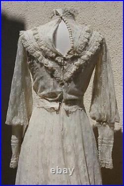 Vintage Gunne Sax style Wedding Dress Ivory Lace Boho Victorian Bridal Dress Xs