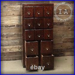 Vintage Industrial 13 Drawer Oak Card Catalog Style File Cabinet Storage Decor