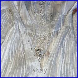 Vintage Ivory Lace Wedding Dress Victorian Edwardian Style Romantic Prairie S