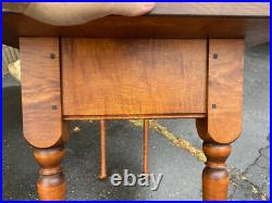 Vintage JL Treharn tiger maple serving table Queen Anne style sofa foyer dining