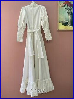 Vintage Laura Ashley 1970's Prairie Style Wedding Dress Size 10