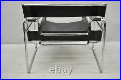 Vintage Marcel Breuer Wassily Style Chrome Black Leather Sling Lounge Chair