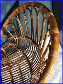 Vintage Mid Century Modern Danish Bentwood Bamboo Rattan Fox Chair Albini Style