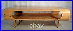 Vintage Mid Century Modern Style Bentwood Coffee Table Blonde Hardwood Legs
