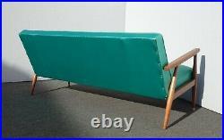 Vintage Mid Century Modern Turquoise Blue Sofa Settee Milo Baughman Style
