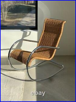 Vintage Mies van der Rohe Style Chrome Steel Cane Rocking Chair Not Marked Nice