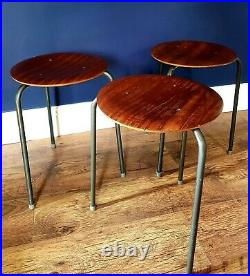 Vintage Original Mid Century Arne Jacobsen Style Tripod Stacking Stools x 3