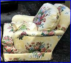 Vintage Palm Beach Custom Chintz Club Chair English Style Floral Cotton Down