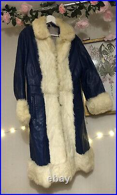 Vintage Real Leather Fur Boho Afghan Coat Jacket 70s 60s Saks Style