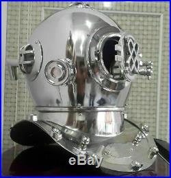 Vintage Silver Chrome Diving Helmet US Navy Mark V Brass Style Marine Scuba Gift