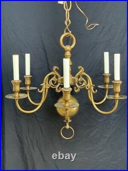 Vintage Solid Brass Chandelier Colonial Williamsburg Style Dutch Holland