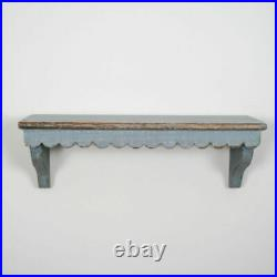 Vintage Style Grey Brown Scalloped Edge Wooden Open Storage Display Wall Shelf