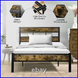 Vintage Style Queen Size Kid Metal Platform Bed Frame with Wooden Headboard