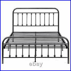 Vintage Style Queen Size Platform Metal Bed Frame, Headboard, Footboard Steel