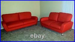 Vintage Style Red/Orange Sofa and Loveseat