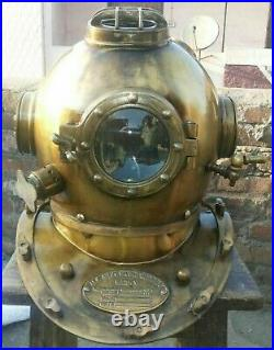 Vintage Style US Navy Mark V Divers Diving Helmet Antique Morse Scuba Full Size