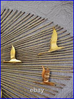 Vintage Sunburst Flying Geese Brutalist Metal Art C Jere Style Wall Sculpture