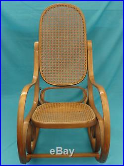 Vintage Thonet Style Cane Bentwood Rocking Chair Made In Italy