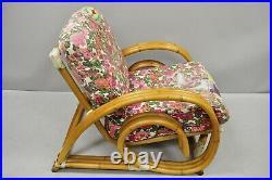 Vintage Tropitan Paul Frankl Style Bamboo Rattan Pretzel Club Lounge Chair