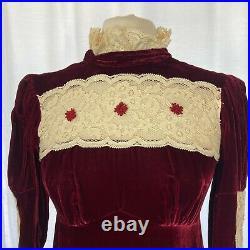 Vintage Velvet Gunne Sax Style Prairie Dress Boho Gown Lace Neck L/S Red Size 8
