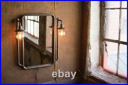 Vintage Warehouse Style Wall Mirror With Lights Metal Frame Urban Industrial 29H