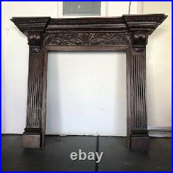 Vintage Wooden Fireplace Mantel Mantle Colonial Style Tectona 57x10.25x48H