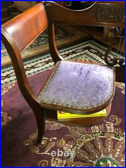 Vintage lyre back telephone chair. Antique furniture Duncan Phyfe style