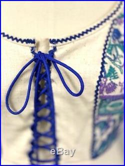 Vtg 70s Boho Festival Embroidered Maxi Dress S 100% Cotton NWOT Gunne Sax Style