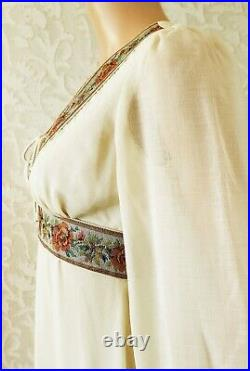 Vtg 70s Gunne-Sax-Style Prairie Renaissance Boho Lace Up Corset Maxi Dress XS