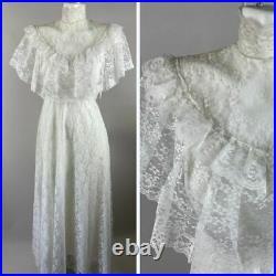 Vtg 70s White Lace Wedding Dress High Neck Prairie Gunne Style Boho Size 9-10