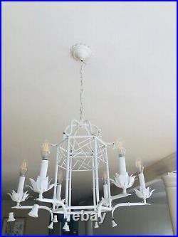 Vtg Faux Bamboo Tole Pagoda Style Metal Chandelier
