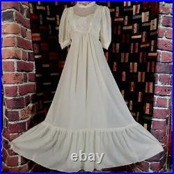 Vtg Gunne Sax Style Hippie Prairie Maxi Dress by Jody T, Sheer Voile withLace, 34B