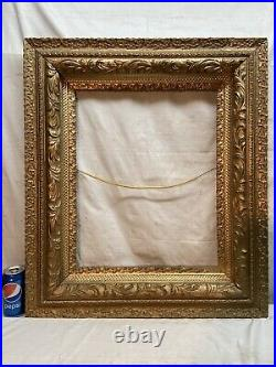 Vtg LARGE Victorian Style ORNATE Wood And Chalk Design 20x16Frame NO GLASS