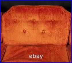 Vtg MCM Mid Century Knoll Style Sofa Couch Sunset Orange Acorn Finials DALLAS