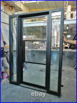 WROUGHT IRON RETRO STYLE SINGLE DOOR WITH SIDELITES Handcrafted in Mexico