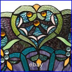 Window Panel Suncatcher Blue Stained Glass Tiffany Style 22in Diameter