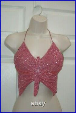 Women's Mauve Pink Medium Halter Top Beaded Butterfly Style Burlesque Apparel
